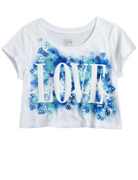 Love Cropped Graphic Tee | Girls Graphic Tees Clothes | Shop Justice