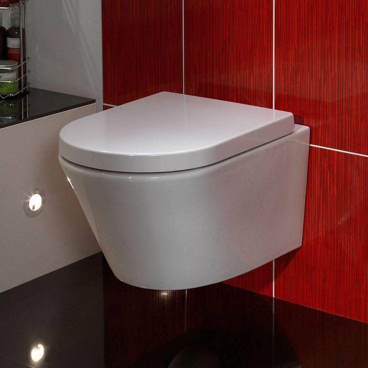Red Wall Bathroom: Bathroom , Sleek Bathroom Design With Wall Mounted Toilet