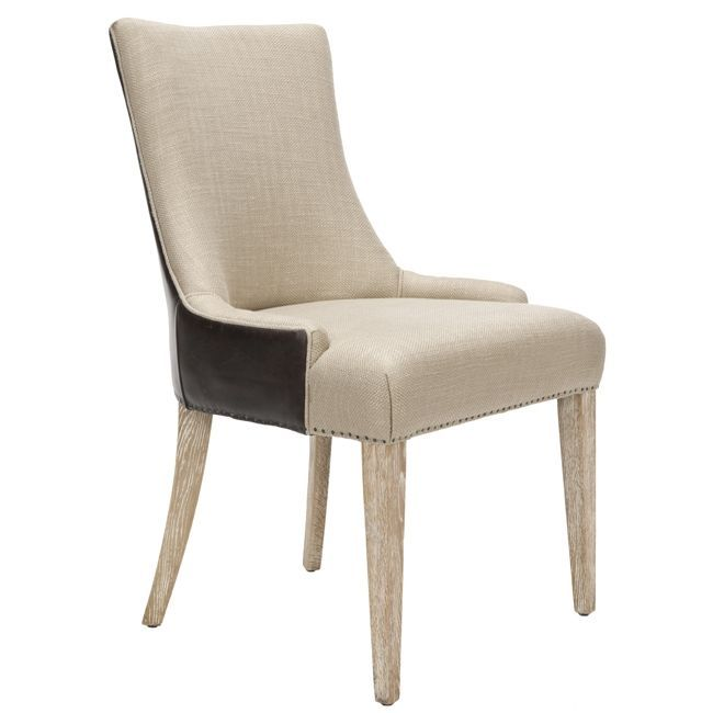 safavieh becca beige fabric leather back dining chair overstock shopping great