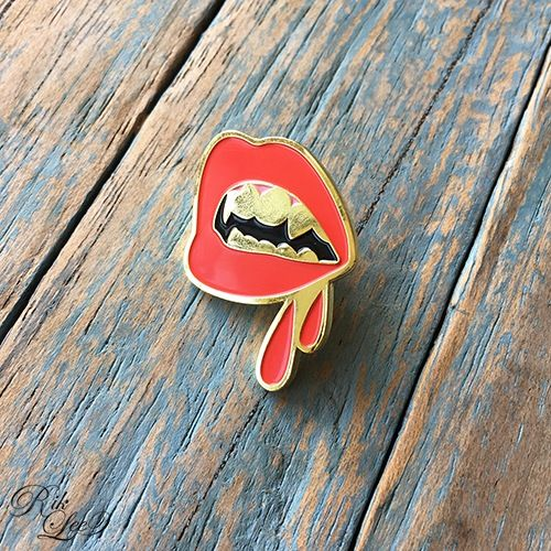 Image of Gold Fangs - Gold plated, embossed lapel pin
