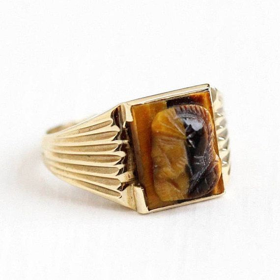 Sale - Vintage Cameo Ring - 10k Yellow Gold Tiger's Eye Mid Century 1950s - Size 5 1/2 Roman Warrior Soldier Fine Brown Carved Gem Jewelry by Maejean Vintage on Etsy