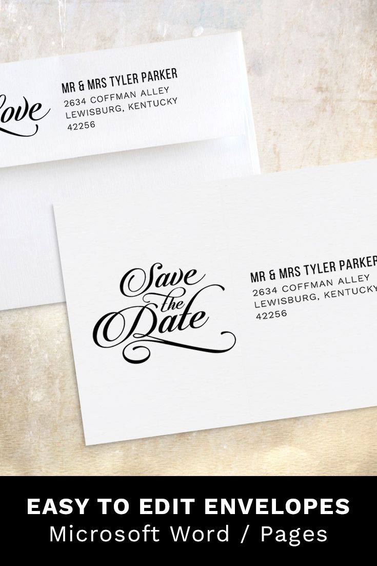 Save The Date Envelope Address Word Template Printable Etsy Save The Date Wording Save The Date Templates Addressing Envelopes Save the date word template