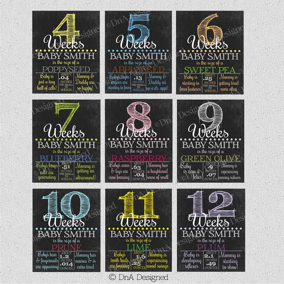 Weekly Pregnancy Chalkboard Weeks Sign Photo Prop by DnADesigned