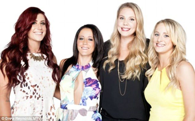 'I'm not close with them': Teen Mom 2's Jenelle Evans will not invite fellow MTV cast members to her upcoming wedding; pictured (L-R)Chelsea Houska, Evans,Kailyn Lowry andLeah Messer