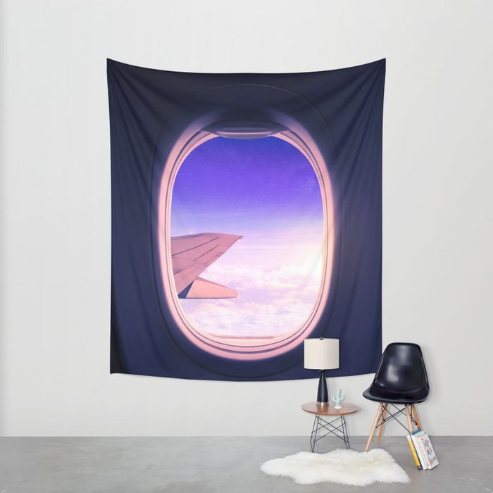 Travel the World. Magical view from an airplane window with the sun glowing over the clouds and the star filled sky. Edited in Photoshop and Lightroom. #adventure #wanderlust #travel #airplane #window #sky #stars #clouds #window #purple #walltapestry #tapestry #homedecor #wallart