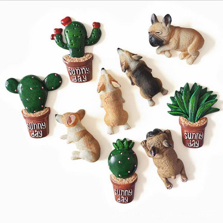 Plant Animal fridge magnets Dog Cactus whiteboard sticker Refrigerator Magnets Kids toy  gifts Home Decoration Free shipping #Affiliate