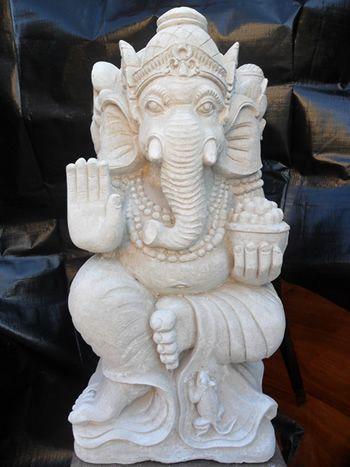 white limestone ganesh statue