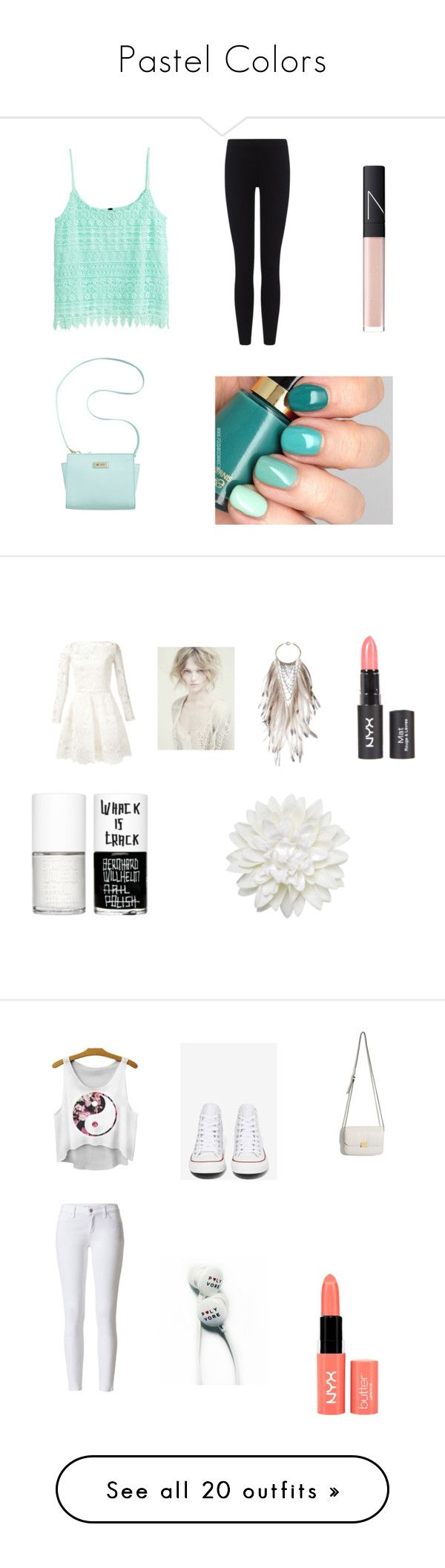 """Pastel Colors"" by dominicablazing ❤ liked on Polyvore featuring H&M, Marc Fisher, James Perse, NARS Cosmetics, Oscar de la Renta, Alberta Ferretti, Clemmie Watson, Uslu Airlines, Monki and NYX"