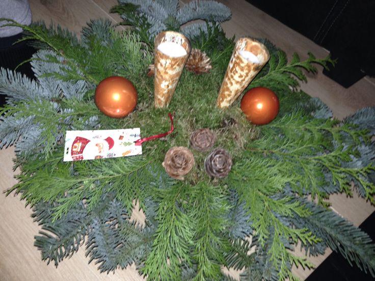 Koperkleurig kerststuk