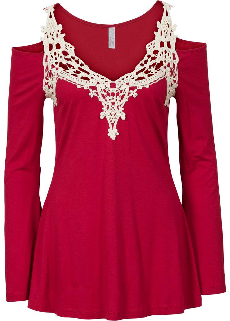 Maglia con pizzo Rosso scuro / bianco crema - BODYFLIRT boutique è ordinabile nello shop on-line di bonprix.it da € 20,99. La maglia per chi ama dettare la ...