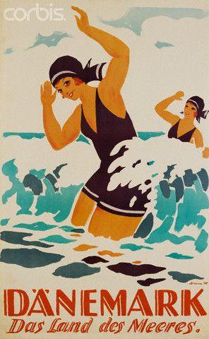 Vintage Travel Beach Poster for Danemark. Worldwide Riviera ! www.varaldocosmetica.it/en : the original extra virgin olive oil cosmetics from the italian riviera.