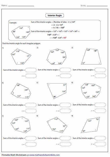 Polygon Worksheets   Angles worksheet, Geometry worksheets ...