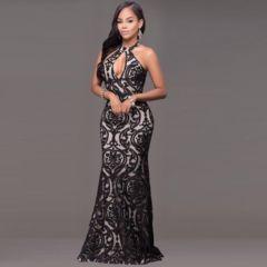 Black Keyhole Neckline Sleeveless Maxi Dress
