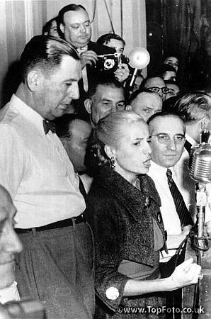 Senora Eva Duarte de Peron gives a speech in Buenos Aires on 1st May 1952. Juan Peron is in the foreground. This was one of Eva's last appearances in public.