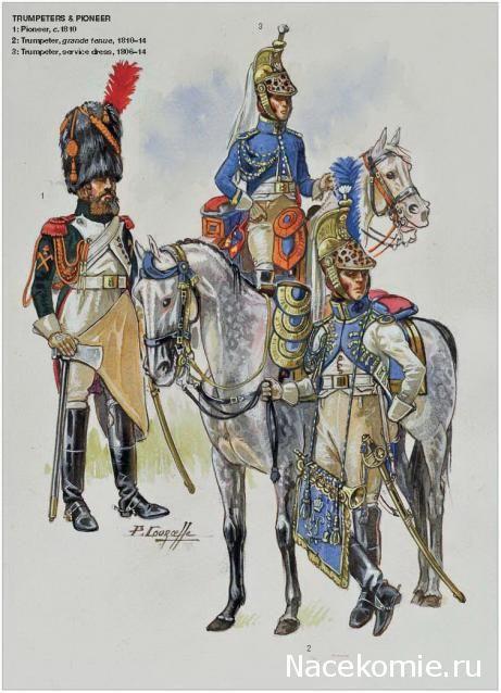 Napoleon's Dragoons of the Imperial Guard_ Trumpeters & Pioneer 1-Pioneer 1810 2-Trumpeter,grande tenue 1810-14 3-Trumpeter,service dress 1806-14