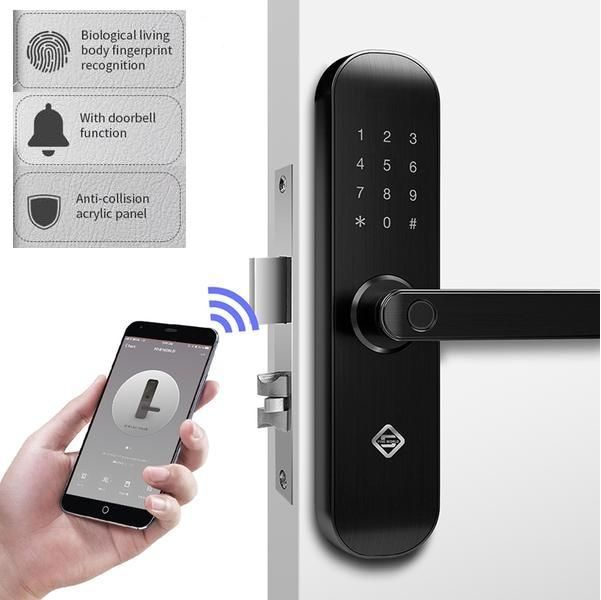 Pineworld Fingerprint Keyless Face Smart Door Lock Wireless Home Security Smart Door Locks Home Security Systems