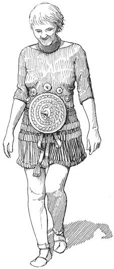 Kvinde med smykker fra Vognserup-fundet – Frau mit Bronzeschmuck aus Vognserup, Dänemark – Woman with bronze-equipment from Vognserup, Denmark