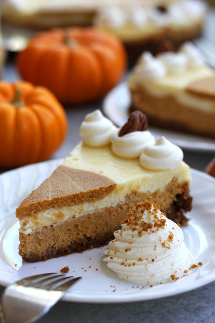 Layered Pumpkin Cheesecake is stunning and incredibly delicious. Vanilla and pumpkin cheesecake layers are surrounded by a gingersnap crust.