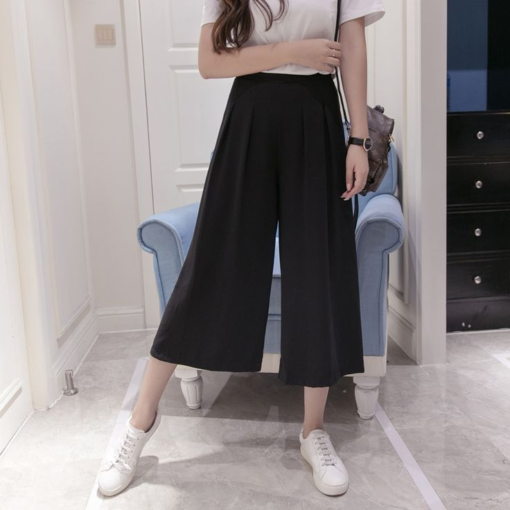 Womenu0026#39;s Summer Cotton And Linen Wide Leg Pants Big Yards Loose Pant Fashion Culottes Elastic ...
