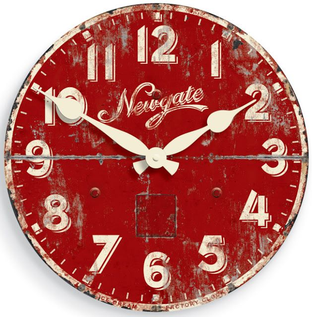 Red vintage clock...This would look good in my kitchen.