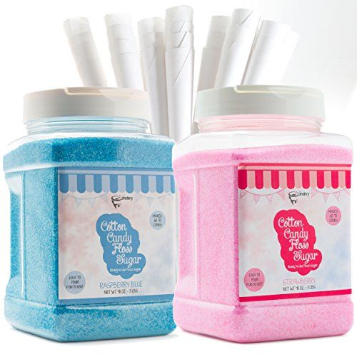 The Candery Cotton Candy Floss Sugar (2-Pack) Includes 100 Premium Cones | Raspberry Blue and Strawberry | Plastic, Reusable Jars | Easy Pour Spout or Scoop | Includes Scooper | 3 LBS Jars  • Make Homemade Cotton Candy - Create the sugar sweet taste of Raspberry Blue or Strawberry in your own kitchen with our deliciously fun candy floss sugar kit.  • Easy to Pour, Scoop & Enjoy - INCLUDES 100 Premium Cones, Along with an easy-pour spout, each 48 oz. floss sugar jar comes with a scoop t...