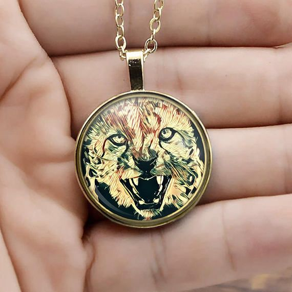 Tiger Face Gold Necklace for men Bengal