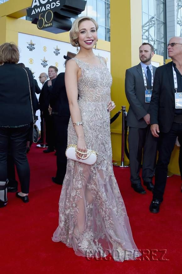 Beth Behrs & Miss America Kira Kazantsev Are Silver Sparkling Sirens At The ACM Awards | CocoPerez.com