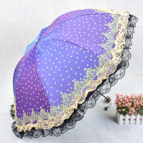 New Women Umbrellas Folding Windproof Anti UV Clear Rain Lacework Lady Umbrella | eBay