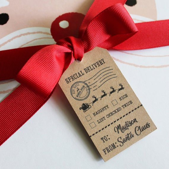 Holiday Gift Wrap Santa Tags Custom Name Special Delivery ...