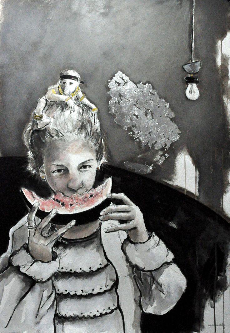 """Watermelon Girl…"" Técnica mista sobre papel 100x70 cm"