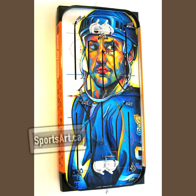 """A teammate nicknamed him """"Killer"""" for his intensity on the ice, Doug Gilmour had his best years in a Toronto Maple Leafs jersey. Toronto native Anthony Jenkins has painted the fan favorite a couple times for his table hockey """"Game Faces"""" series."""