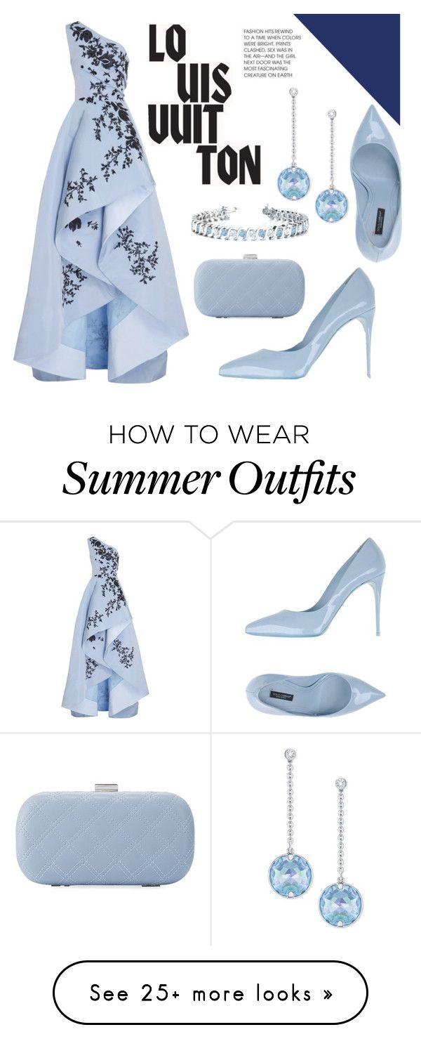 """Blue Dress"" by bethany-whisper on Polyvore featuring Monique Lhuillier, Dolce&Gabbana, La Sera, Allurez, Swarovski, Louis Vuitton and dress"