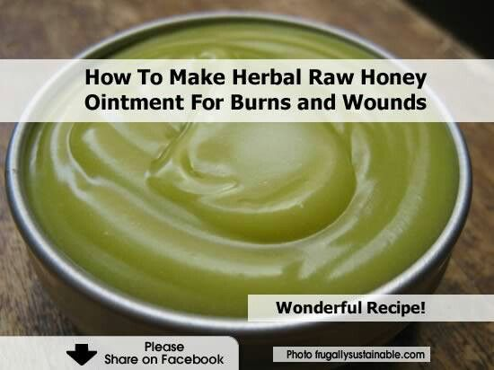 Herbal raw honey ointment for burns and wounds