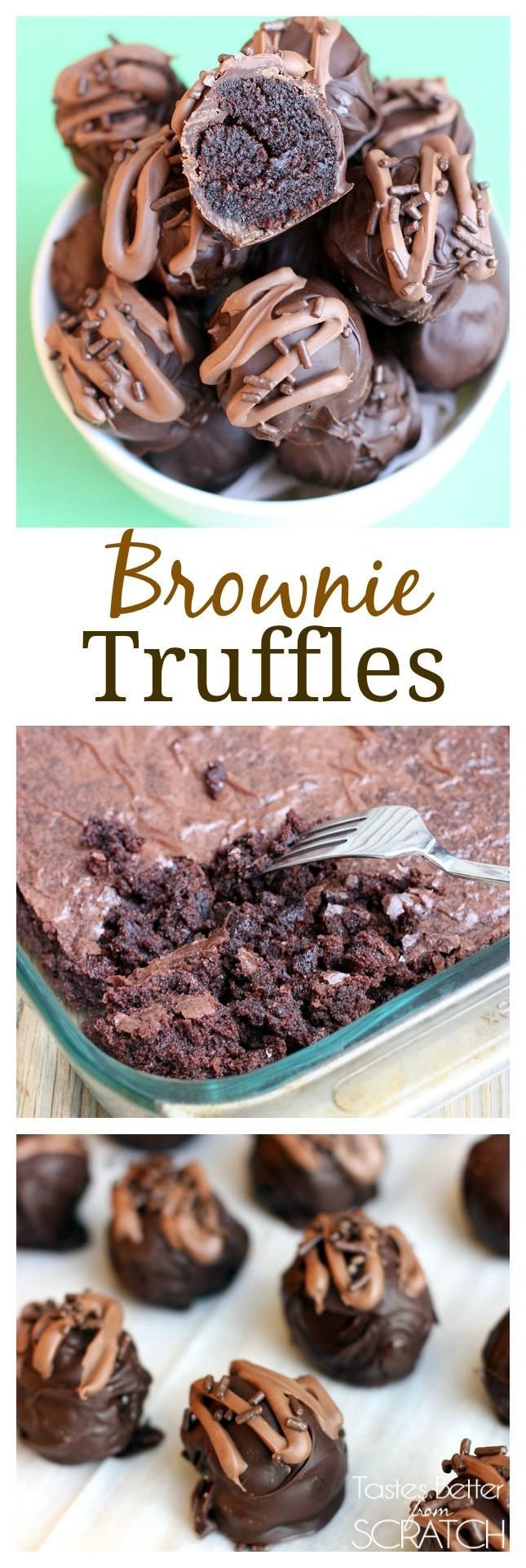 Homemade Brownies made into a delicious chocolate truffle! SO easy and deliciously addicting!