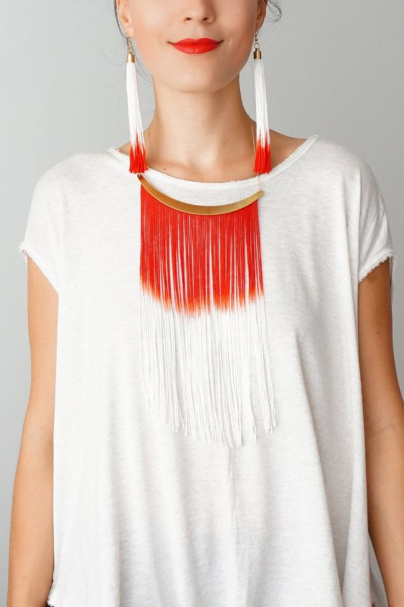 Cheora // Fringe Necklace/ Tassel Jewelry/ Body Jewelry/ Red Jewelry/ Fringe Jewelry/ Arc Necklace/ Statement Jewelry/ Gold Jewelry