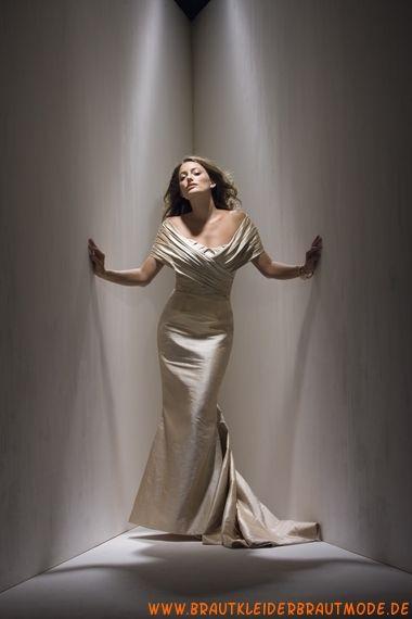 Moderne schöne Brautmode berlin aus Satin Meerjungfrau V-Ausschnitt