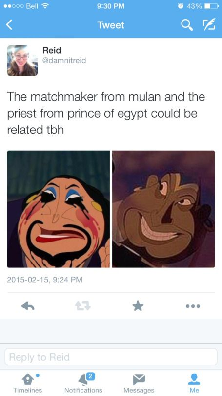 The matchmaker from Mulan and the priest from Prince of Egypt could be related