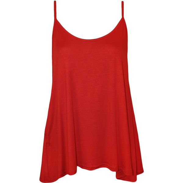 Dalia Strappy Swing Top ($11) ❤ liked on Polyvore featuring tops, shirts, tank tops, tanks, red, stretch tank top, shirts & tops, holiday shirts, rayon shirts and strappy tank top