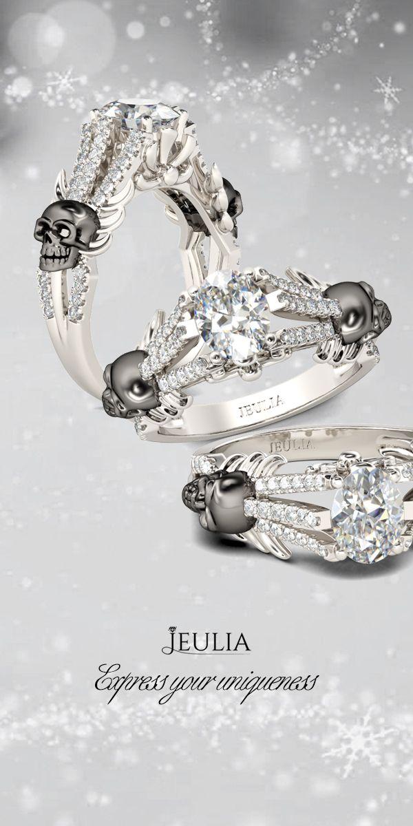 Jeulia Two Tone Oval Cut Created White Sapphire Two Skull Ring #Jeulia