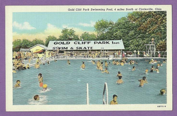 Circleville Oh Gold Cliff Swim Skate Park Swimming Pool Vintage Ohio Postcard Vintage Summer