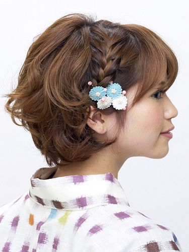 Short hairstyles with kimono and yukata