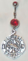 """Fire Department emblem is made of .925 sterling silver.    316L surgical steel, curved belly button ring is 14 gauge 3/8"""" with 2 red gemstones. $39.95:    Available in 5/16"""", 3/8"""" & 1/2"""" barbell lengths. #bellyrings #piercings #fireman"""