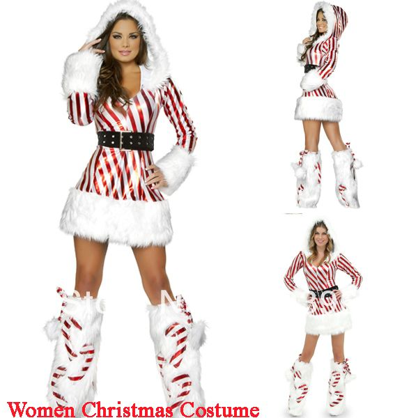 2014 Winter CL8035 Vertical Stripes Long Sleeve New Year Costume for Adults Sexy Leather Hooded Christmas Fancy Dress $18.86
