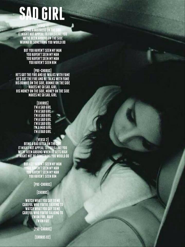 Lana Del Rey lyrics #Sad_Girl #LDR #ultraviolence