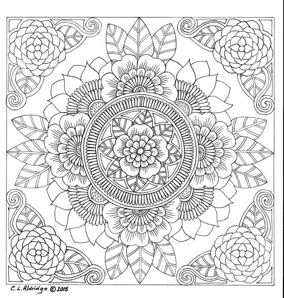Botanical Flower Mandala Adult Coloring Page