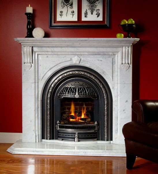 Cheladon Marble Mantel with Direct Vent Gas Coal Look Fireplace (with Glass Window)
