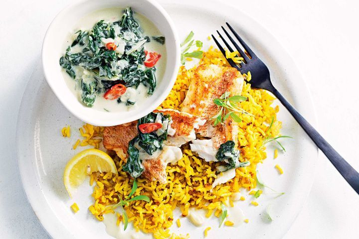 Fish with quick turmeric rice and coconut silverbeet