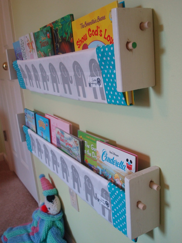 Book Storage Sling -  Grey elephant turquoise book storage shelf gender neutral nursery decor. $29.00, via Etsy.