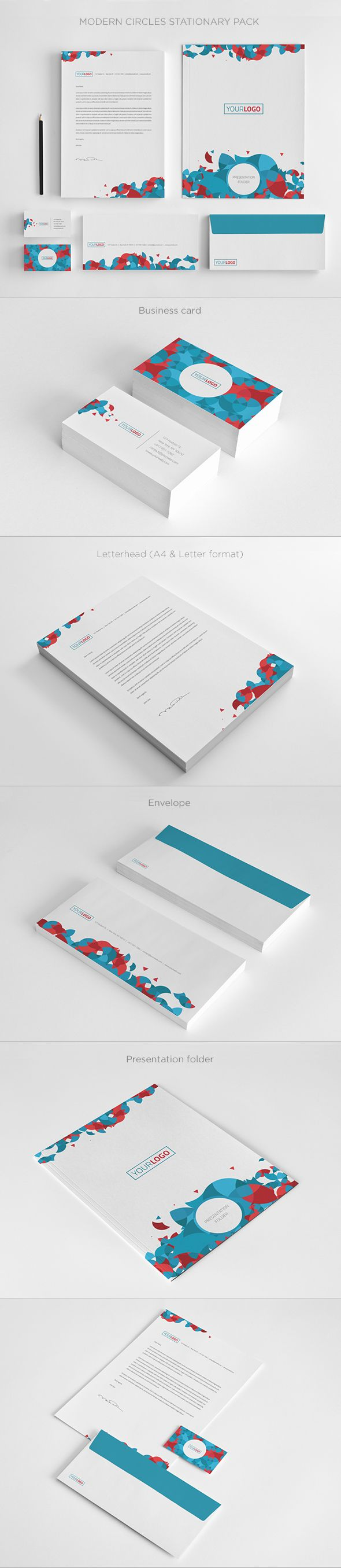 Modern Circles Stationary. Download here: http://graphicriver.net/item/modern-circles-stationary/5522773?ref=abradesign #design #stationary