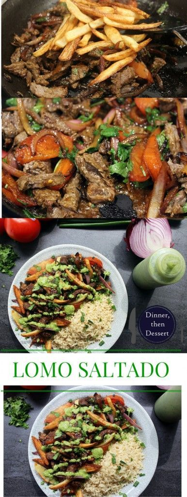 Peruvian steak and fries with red onions and tomatoes, topped with spicy cilantro sauce and served with brown rice